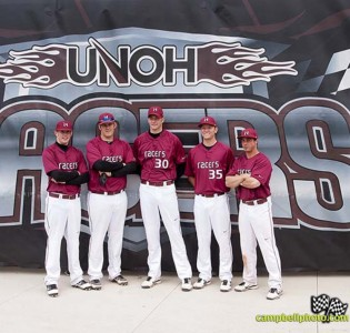 The five UNOH seniors were honored Sunday: (l to r) Austin Park, Ben Ehgoetz, Adam Ashman, Zach Petrick and Dylan Brammer
