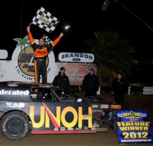 Kenny Wallace won at East Bay Raceway Park while UNOH student Kody Weisner and Cody Bland were on his pit crew