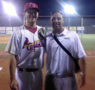UNOH baseball coach Kory Hartman stands with Racers product Zach Petrick after his professional debut Wednesday