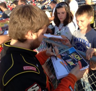 UNOH driver Kody Weisner signs autographs earlier this season at Limaland