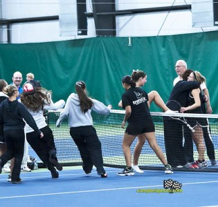 The UNOH women's tennis team reacts after winning the NAIA Unaffiliated Group Tournament
