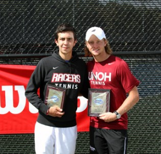 Daniel Rueda (left) and Ronnie Myburgh won the USTA/ITA Regional title in doubles this weekend.