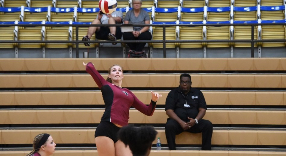 Kendall Stoll recorded a team-high 11 kills in match one on Saturday. (Photo by Claudia Lusk)