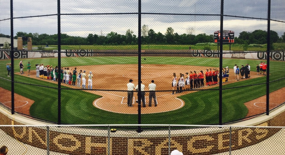 Softball players from the WBL get ready to play at the St. Rita's Sports Complex.